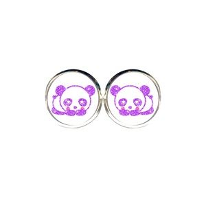 Glitter Panda Earrings
